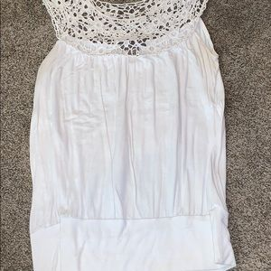 White sleeveless shirt with cute detail at top